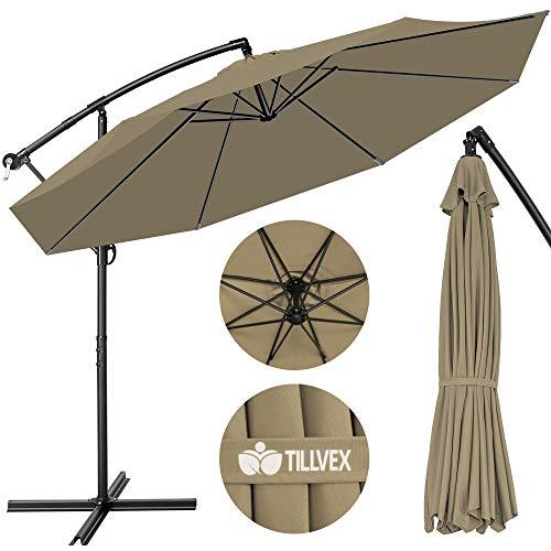 tillvex Sonnenschirm Braun Ø 300 cm mit Kurbel | Ampelschirm mit Ständer | Gartenschirm UV-Schutz Aluminium | Kurbelschirm Marktschirm wasserdicht