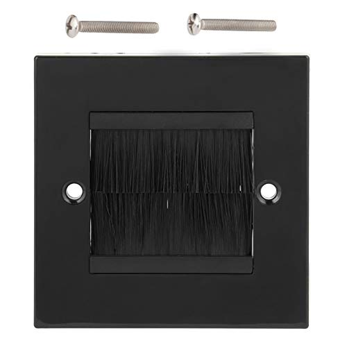 Wall Plate, Dust Prevention Brush Cable Wall Plate Port Insert Cover Outlet Mount Panel for Wires, Single Gang Cable Access Strap, Home Theater Systems Etc(Black)