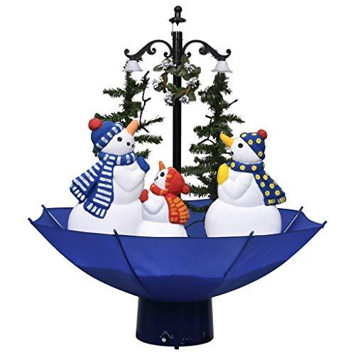 vidaXL Künstlicher Weihnachtsbaum mit Schnee Schirmfuß Schneefall Tannenbaum Christbaum Kunstbaum Dekobaum Weihnachten Dekoration Blau 75cm PVC