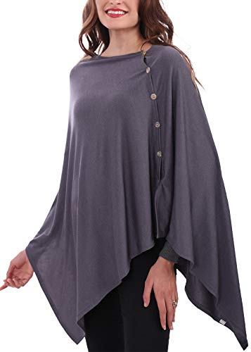 MissShorthair Lightweight Shawl Wrap for Women Large, Knitted Poncho Sweater Cape Cardigan (Grey)