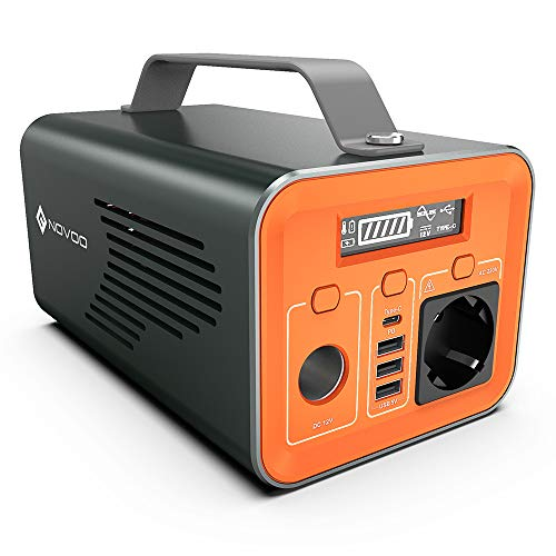 Generator Power Station Powerbank Novoo Portable Power Solarkraftwerk Mobiles Kraftwerk Tragbares Ladegerät 230Wh 62400mAh mit AC Steckdose 200W USB C mit PD 60W Wiederaufladen für Campingreisen CPAP