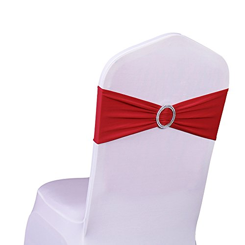 SINSSOWL 100PCS Stretch Wedding Chair Bands With Buckle Lycra Slider Sashes Bow Decorations 25 Colors (red)