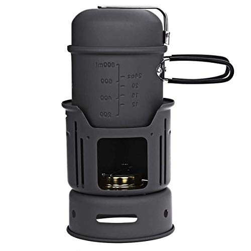 DBSCD Estufa portátil para Senderismo y Supervivencia con Estufa de latón con Quemador de Alcohol  Potente, eficiente, de leña y bajo en Humo  Estufa de Cohetes de gasificación