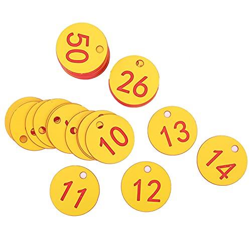 Etiquetas de número de Granja, identificación precisión Colgante Redondo plástico numerado Etiqueta Etiqueta de Ganado Marca de Animal para la cría de Apicultura(1-50-Amarillo)