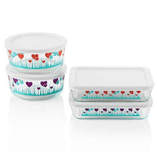 Pyrex Decorated Glass Food Storage Set (8-Piece, BPA Free Lids, Meal Prep, Lucky in Love)