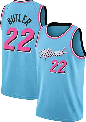 DCE Herren Trikot Miami Heat Jimmy Butler # 22 Jugend Basketball Mesh Jersey, Sommertrikots Basketball Uniform Tops Trikots City Edition Swingman Trikot Basketball Trikot (Blau, S(44))