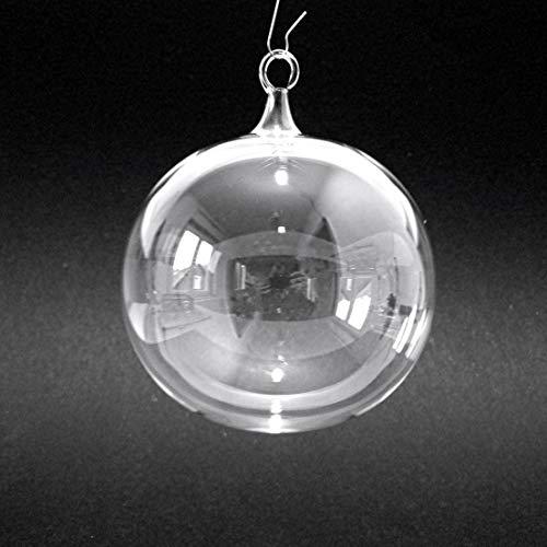 2 Stück Christbaumkugel, Christbaumschmuck, Weihnachtskugeln, transparent, 8 cm