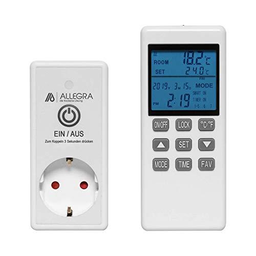 Smart Thermostat Steckdose für Infrarotheizung Heizung und Klima mit Fernbedienung und Timer Steckerthermostat Heizkörperthermostat (T24)