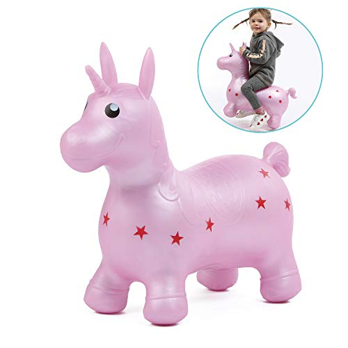 Il mio unicorno salterino | Ludi | Giocattolo gonfiabile per saltare - Gioco al chiuso e all'aperto - Grande stabilità - Apprendimento dell'equilibrio e sviluppo della motricità | Da 10 mesi