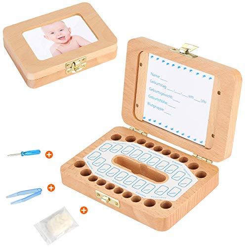 Luchild Milchzahn Box Holz Zahnbox [Deutsch Version] Milchzähne Zahndose deutsch Milchzahndose Zahndöschen für Kinder (wooden)