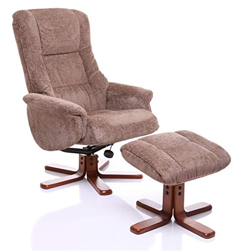 Oriental Leather Co Ltd Shangri La Chenille Fabric Swivel Recliner Chair & Footstool In Mink/Cherry