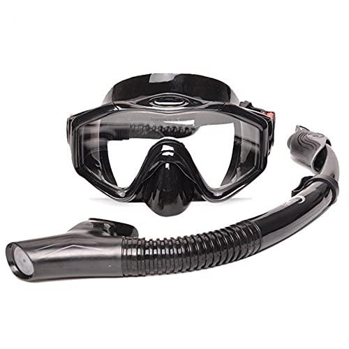 ZBYD Espejo de Buceo El Espejo de Snorkeling Profundo no Contiene una máscara de Silicona de sujeción de respiración Completa. 424 (Color : Black, Style : Goggles+Breathing Tube)