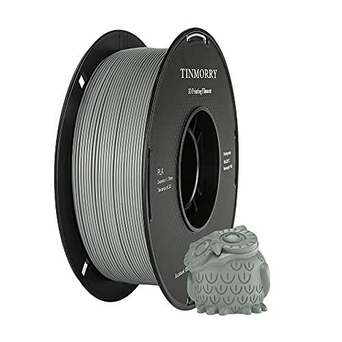 PLA Filamento 1,75 mm Gris, TINMORRY Materiales de Impresión 3D Filamento 1 kg Spool