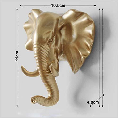 EHLIE - Gancio da parete con testa di cervo, semplice e solido, senza cuciture, decorazione per la casa, elefante d'oro
