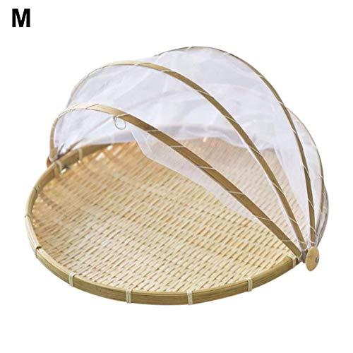 Telisii Handgewebter Lebensmittelportierkorb Staubdichter runder Picknickkorb Lebensmittelzeltkorb mit Netzgewebebezug für Gemüsefruchtbrot