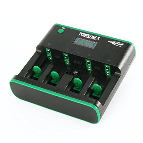 ANSMANN Powerline 5 Zero Watt Tischladegerät / Energiesparendes 5-fach Ladegerät für NiMH/NiCd Akkus der Größen AA AAA C D & 9V / Mit Einzelschachtüberwachung und automatischer Netztrennung