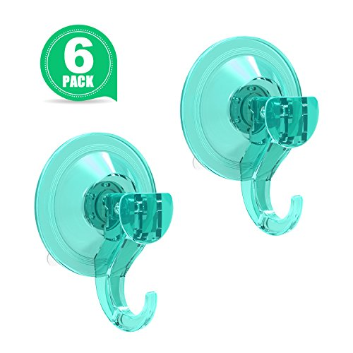 Luxear Shower Suction Hook Suction Cup Hangers Wreath Hanger Holder Vacuum Suction Hooks for Windows Bathroom Shower Towel Robe Coat, 6 Pack (Lightseagreen)