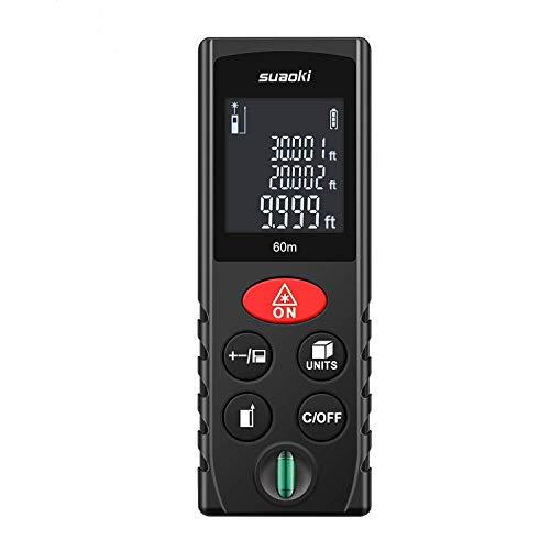 SUAOKI Laser Entfernungsmesser 60M Entfernungsmessgerät, Automatische Berechnung Messbreich 0,05~60m/ ±2mm mit LCD Hintergrundbeleuchtung