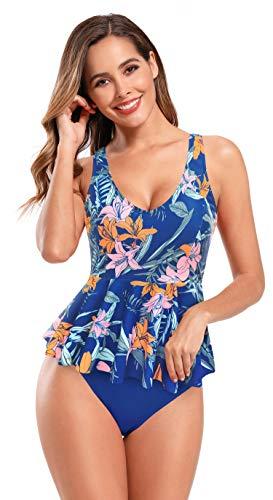 SHEKINI Costume da Bagno Imbottito con Scollo a V Tankinis Stampato da Donna Costumi da Bagno Intero con Bordo Arricciato(Blu Zaffiro,S)