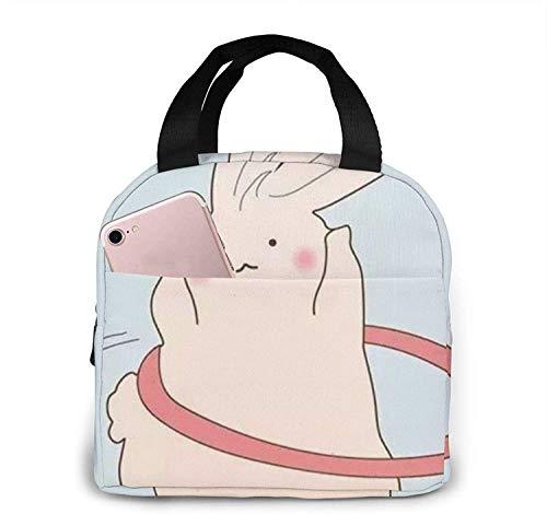 Bolsa de almuerzo de conejo Hula-Hooping Bolsa de asas Caja de almuerzo Contenedor de almuerzo aislado para mujer hombre