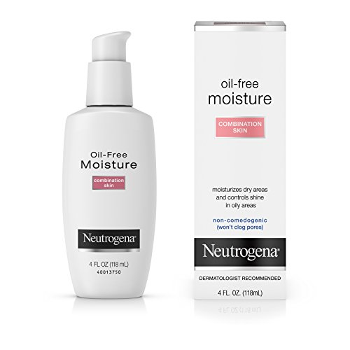 Neutrogena Oil Free Moisture Glycerin Face Moisturizer & Neck Cream for Combination Skin, Lightweight, Oil Absorbing Facial Moisturizer Lotion for a Soft Natural Matte, 4 fl. oz