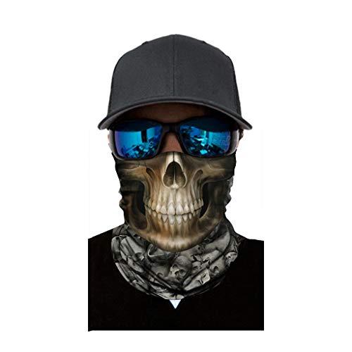 cinnamou Multiunktionstuch Maske Schal Kälteschutz Gesichtsmaske Fishing Totenkopf Schal Skull Bandana Gesichtsmaske Halstuch Ski Motorrad Paintball Halloween Maske (25CM X 50CM, C)