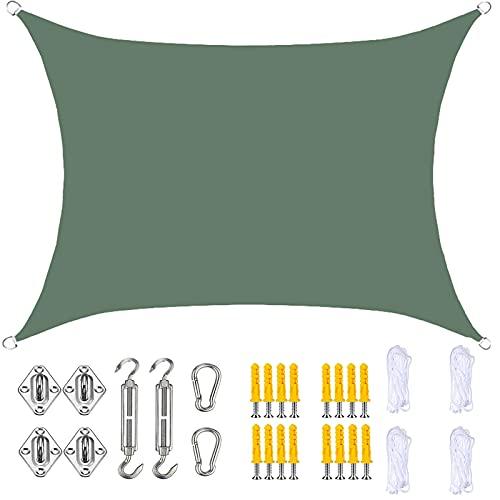 YLSS Toldo para Toldo con Protección Solar Rectangular De 3X3 M Resistente Al Agua con Bloqueador UV del 90% Toldo con Kit De Fijación para Jardín Al Aire Libre Patio Fiesta,Dark Green