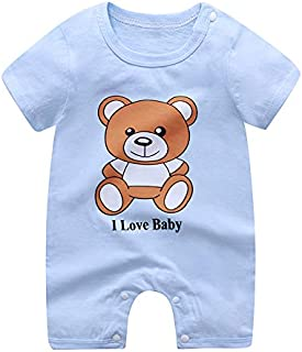 Baby Girl Baby Boy Blue Infant Romper Pyjama Toddler Cartoon Bear Outfit Jumpsuit Clothe set Short Sleeve Soft Dress Sleep...