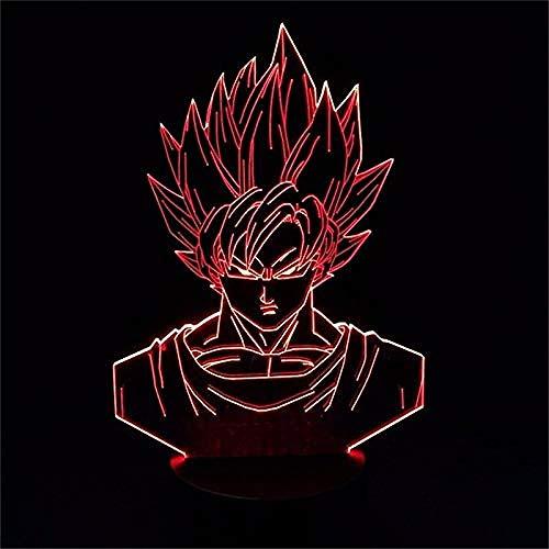 YOUPING Luz nocturna LED 3D Dragon Ball Z Vegeta Super Figura de acción 7 colores táctil de ilusión óptica lámpara de decoración del hogar modelo