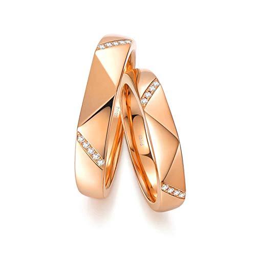 KnSam Anillo Oro Rosa de 18K, Rombo de Corte Anillo de Bodas con Diamante Blanco 0.036ct, Mujer Talla 18,5 y Hombre Talla 25 (Precio por 2 Anillos)