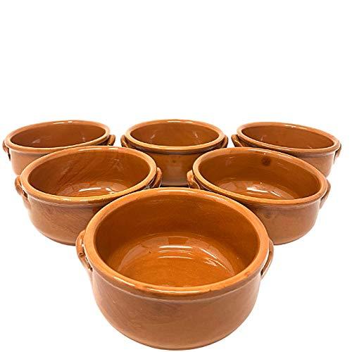 NAMAI Set 6 Tegami Terracotta, Tegamini in Terracotta da Forno con Due Manici, Ciotole in Terracotta Misura 14 CM di Diametro e 6,5 CM di Altezza, Artigianale, Marroncino