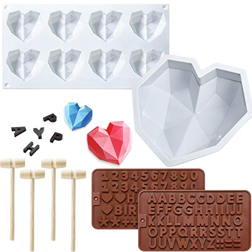 8.7 Inch Diamond Heart Mousse Silicone Cake Mold Tray, 8 Cavities Heart Diamond Shaped Cake Mold Tray, 2 Pieces Chocolate Mold Letter Number Shaped Mold and 4 Pieces Wooden Hammer for Valentine's Day