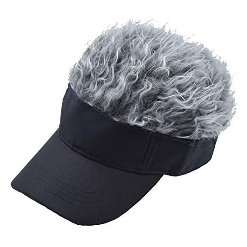 CNF CO Hair Sun Visor Cap Adjustable Baseball Hat with Spiked Hair, Grey