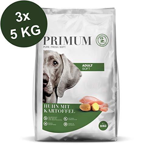Primum | 15 kg | Halbfeuchtes Trockenfutter für Hunde | getreidefrei | Soft Huhn mit Kartoffel | Extra viel Fleisch | Optimal verdaulich | Herstellung in Deutschland
