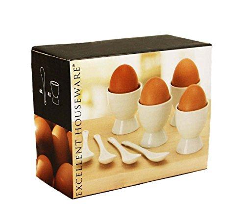 Haac Lot de 8 coquetiers en céramique avec cuillères Idéal pour Pâques