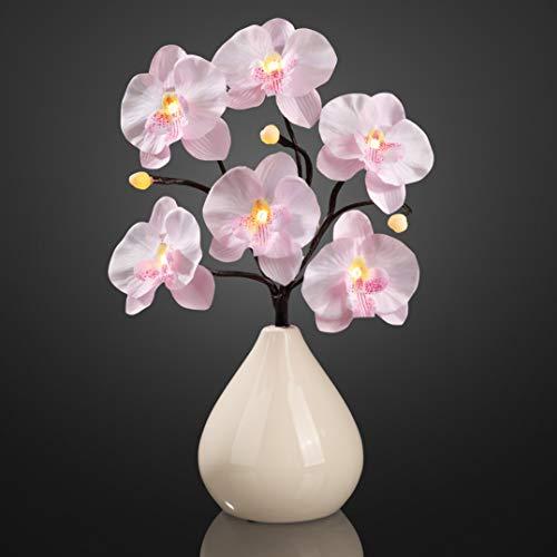 Hellum 300222 LED Orchideenzweig rosa mit Vase für innen, 35 cm, 9 LEDs warm-weiß mit Batteriebetrieb