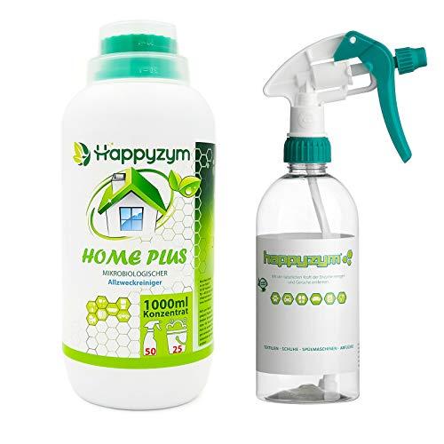 Happyzym Home Plus Biologischer Enzymreiniger Bio-Allzweckreiniger 1 Liter Konzentrat | Geruchsentferner | Universalreiniger | Für Haushalt und Tierumgebung | Reinigen mit natürlichen Mikroorganismen