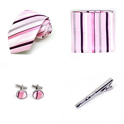 S.R HOME Coffret Cadeau Ensemble Cravate homme, Mouchoir de poche, épingle et boutons de manchette Larges rayures roses