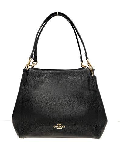Coach Pebble Leather Hallie Shoulder Bag (IM/Black)