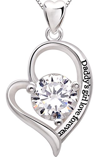 ALOV Jewelry Sterling Silver 'Daddy's girl love forever' Love Heart Cubic Zirconia Pendant Necklace