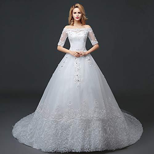Dames trouwjurk, lange staart bruidsjurk voor vrouwen, kant applicaties bruid avondjurken