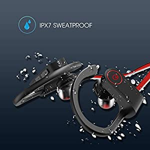 noot products NP11 Wireless Earphones Bluetooth in-Ear Headphones with Mic, Volume & Remote Control IPX7 Sweatproof Earbuds for Sports, Workout, Running, Gym (Black)