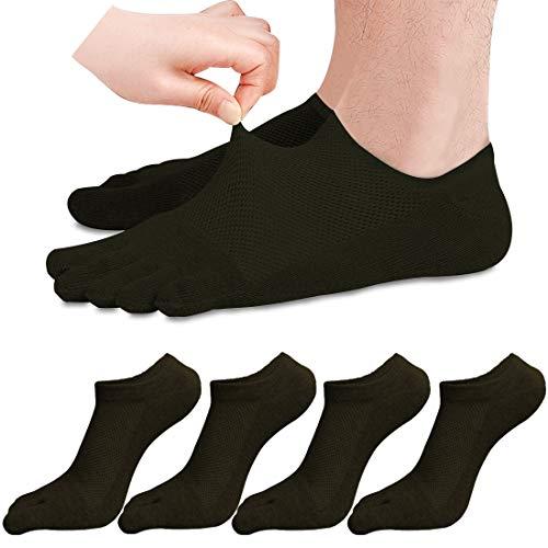 MOAMUN 5 Paar Herren Zehensocken Baumwolle Low Cut Liner Socks 5 Fingersocken für Männer Atmungsaktiv und Weich (schwarz)