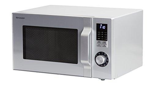 Sharp R744S 2-in1 Retro-Mikrowelle mit Grill / 25 L / 900 W / 1000 W Grill / LED-Display / 12 Automatikprogramme / Timer / Gewicht- und zeitgesteuertes Auftauen / Kindersicherung / silbermetallic