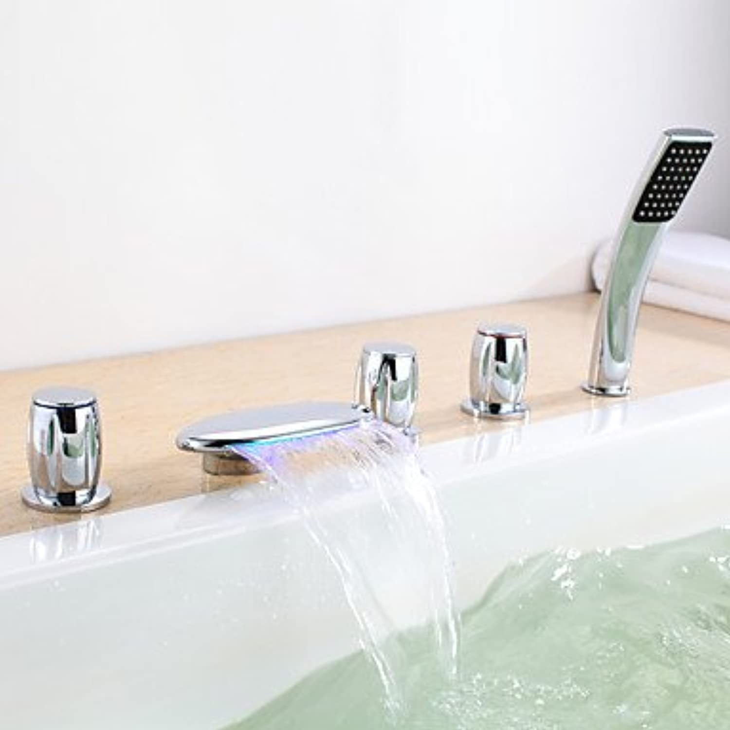 DF Bathtub Faucet Contemporary LED Waterfall Brass Chrome