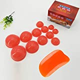 12PCS Silicone Suction Cup Cupping Therapy Set for Body Massage,Muscle Relaxation,Pain Relief with One Scraper and One Cleaning Cloth. (Red)