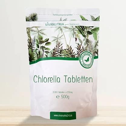 VivaNutria Chlorella Presslinge 500g   aus kontrolliertem Anbau I 2000 Chlorella Tabletten ohne Zusätze - rein & natürlich I schonend verarbeitet   Rohkostqualität I vegan