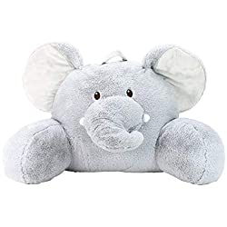 "Sweet Seats Adorable Elephant Children's Plush Floor Cushion with Velcro Storage Pocket on Back, Grey, 25"" W x 12.5"" D x 18"" H For Children 2+"