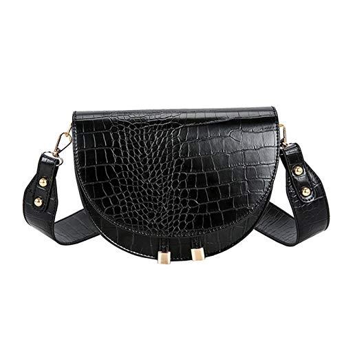 KSFBHC Muster Umhängetaschen for Frauen Halbrund Messenger Bag Leder-Handtaschen-Umhängetasche (Color : Black)