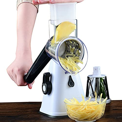 CUIFULI Vegetable Cheese Grater Slicer Rotary Handheld Grater 3 Detachable Drum Blades, Rotary Grater for Kitchen Safe, Effiently Cheese Grinder for Vegetables, Nuts, etc.